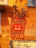 PRIMITIVE PUMPKIN FELT DITTY BAG WITH HERBS