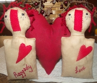 PRIMITIVE 3 PC. RAGGEDY AND HEART BOWL FILLERS