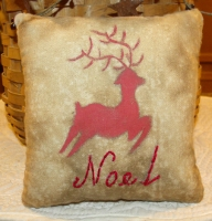 PRIMITIVE REINDEER PILLOW TUCKS
